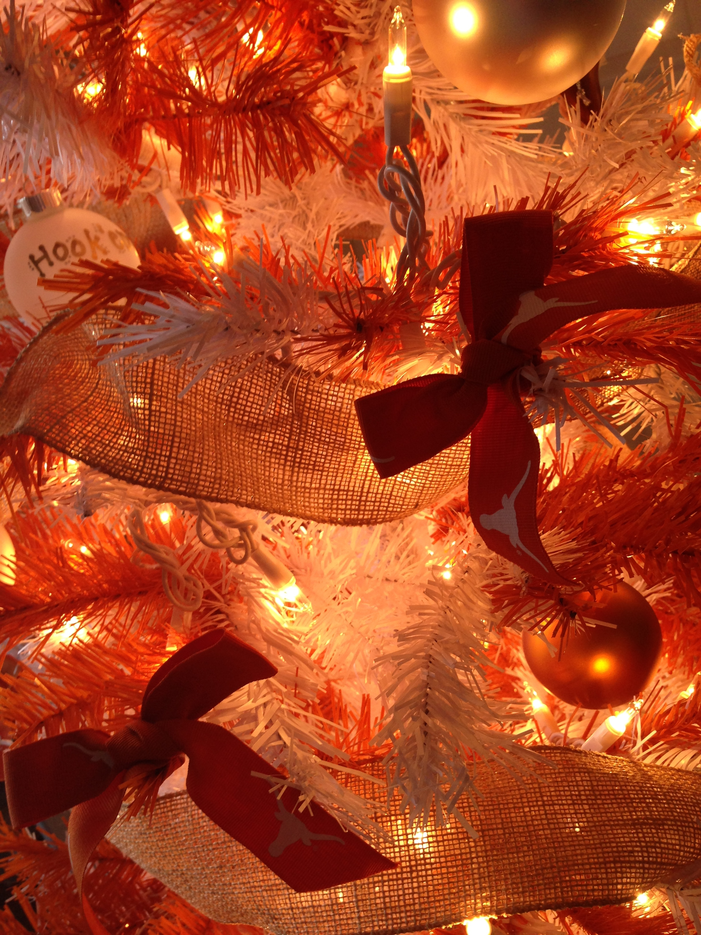 Place Ribbon On Christmas Tree